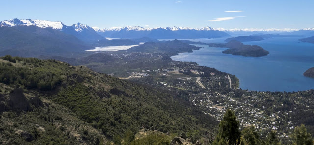 View of Lake Nahuel Huapi and mountains from Cerro Otto above Bariloche Argentina