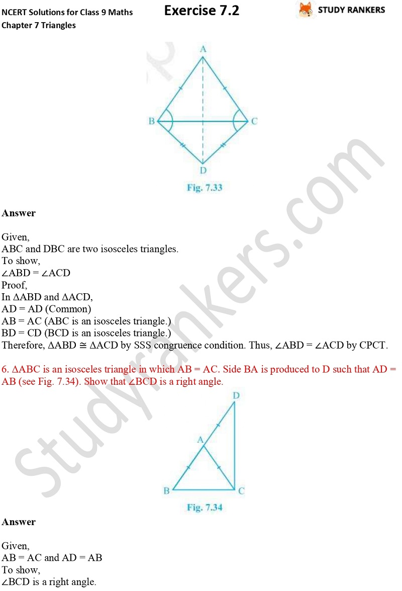 NCERT Solutions for Class 9 Maths Chapter 7 Triangles 7.2 Part 5