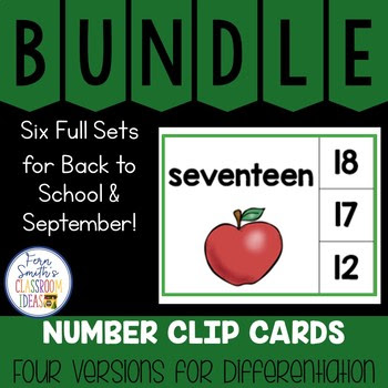 Number Clip Card Centers for Numbers, Number Words & Ten Frames September Bundle #FernSmithsClassroomIdeas