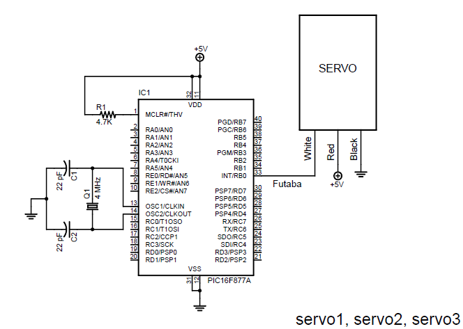 basic circuit for pic 16f877a