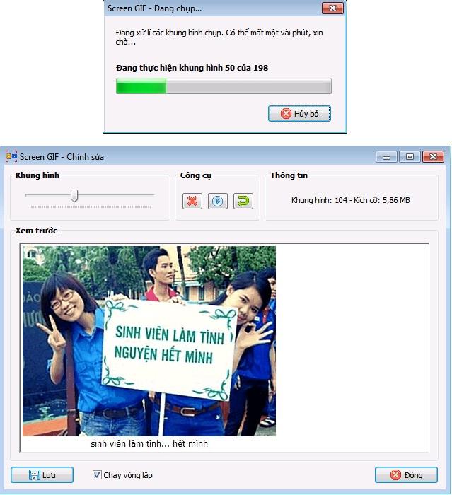 Download Screen GIF 3.0 Việt hóa - Phần mềm tạo ảnh động