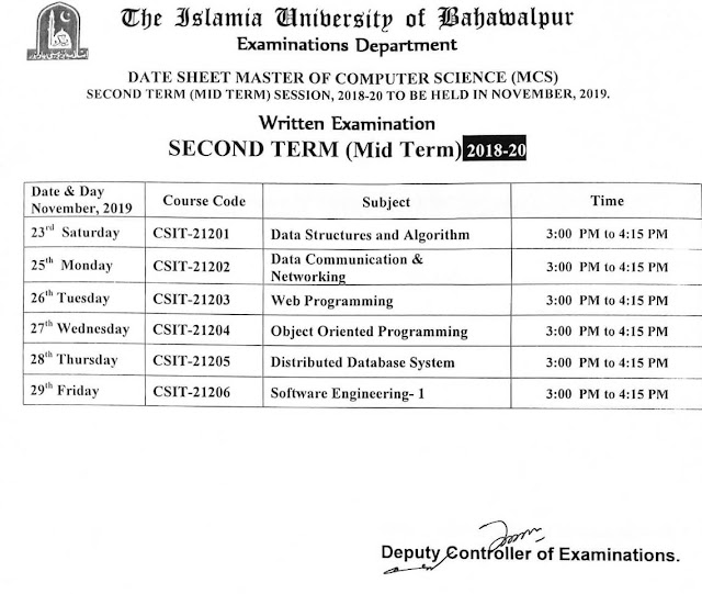 DateSheet MCS Second Semester 2018 20 Mid Term