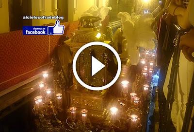 Misterio de San Benito de la Sagrada Presentacion al Pueblo en la estrechez de la Calle Francos el martes santo de 2017 en la semana santa de sevilla