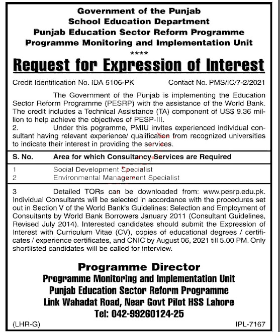 Government Jobs in Punjab Latest  - Punjab School  Education Department Management Posts 2021