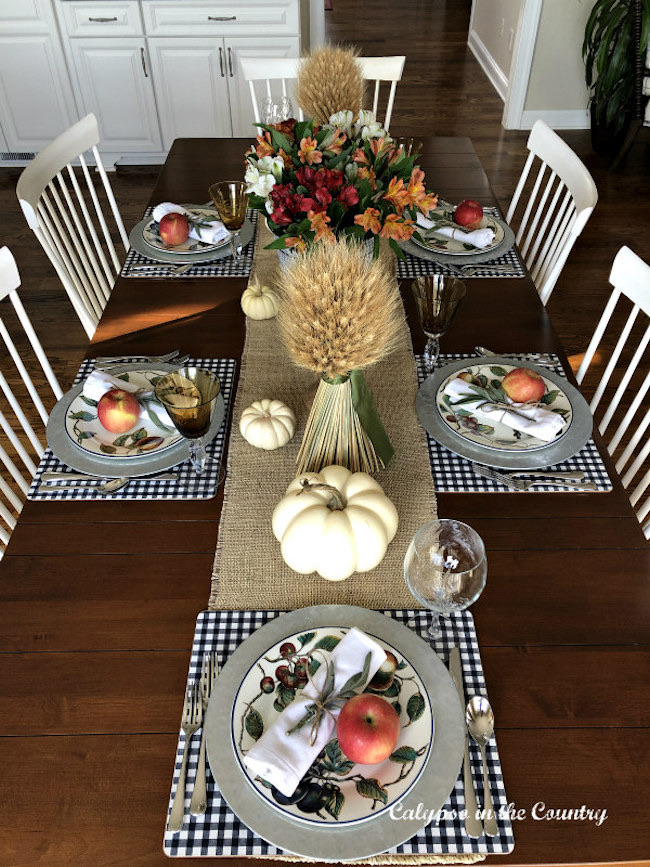 Casual Thanksgiving Table Setting in the Kitchen at Calypso in the Country featured on Pieced Pastimes