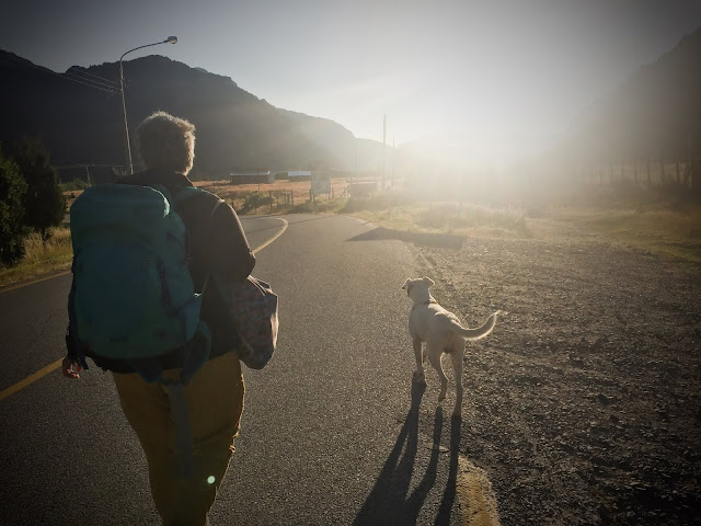 Doggy and I walking towards Futaleufú, Chile
