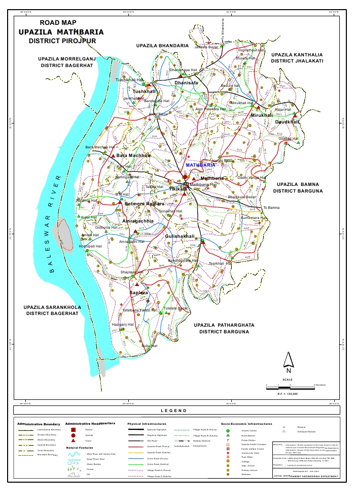 Mathbaria Upazila Road Map Pirojpur District Bangladesh