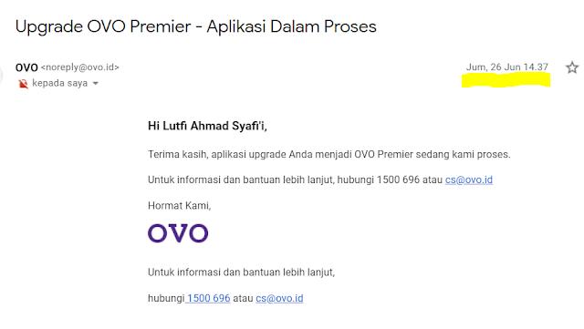 Upgrade ovo premier dalam proses