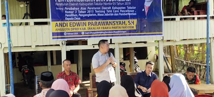 Andi Edwin Paranwasya,  SH Kr. Lomba  Anggota Dewan dari Partai Nasden Sosialisasikan Perubahan PERDA Nomor 3 Tahun 2015