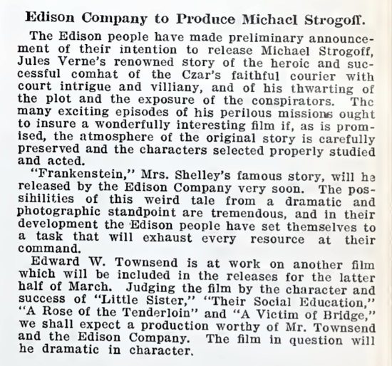 Frankenstein announcement March 5, 1910