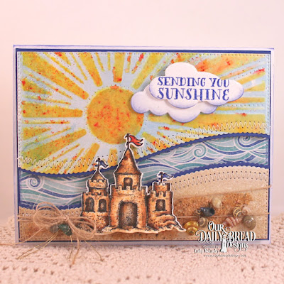 Our Daily Bread Designs Stamp Set: Sending You Sunshine, Our Daily Bread Designs Paper Collection: By the Shore, Our Daily Bread Designs Custom Dies: Sandcastle, Leafy Edged Borders, Flourished Star Pattern, Sunburst Background