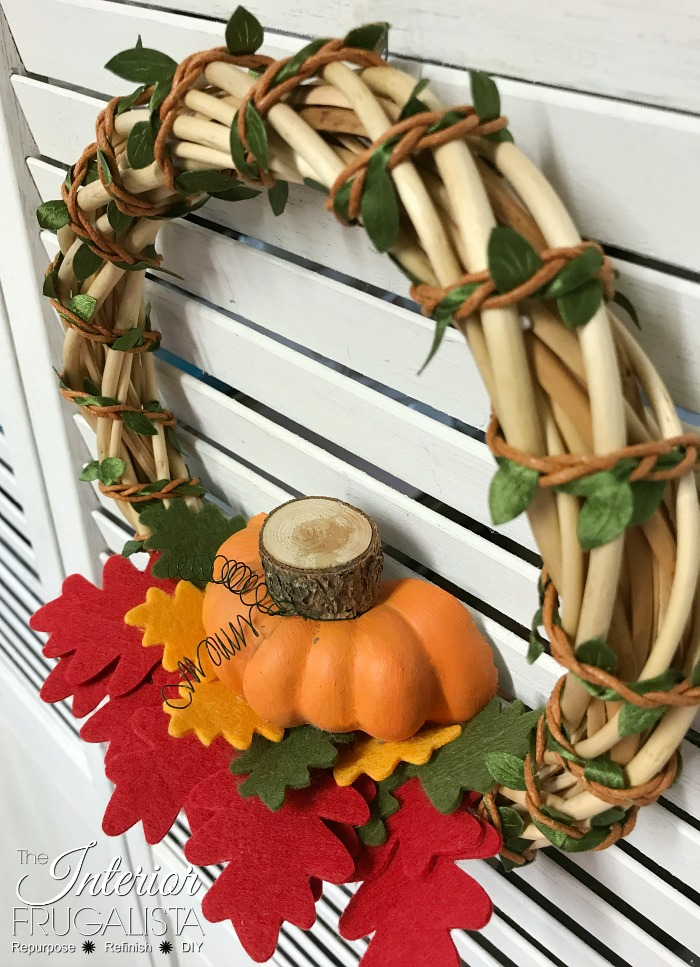 DIY Fall Dollar Store Wreath Top View