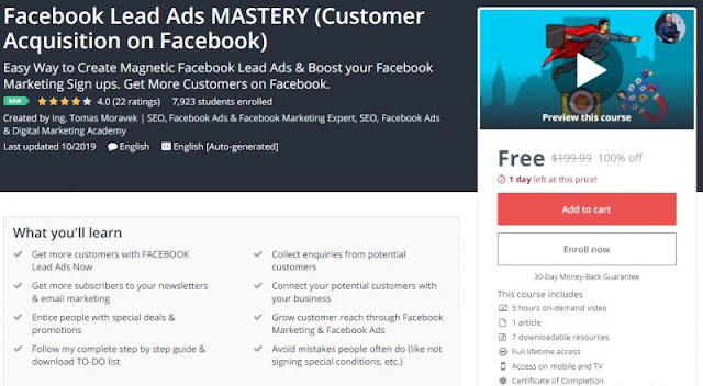 [100% Off] Facebook Lead Ads MASTERY (Customer Acquisition on Facebook)| Worth 199,99$