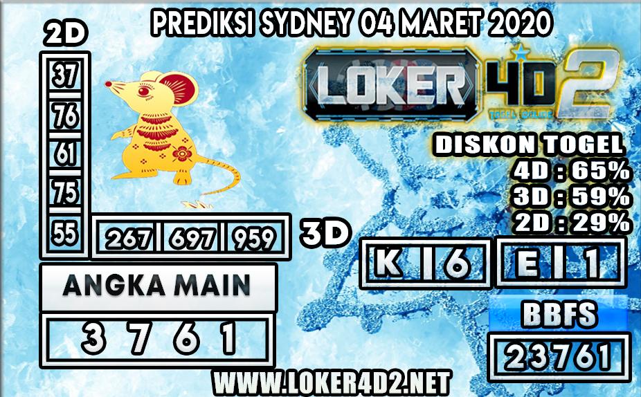 PREDIKSI TOGEL SYDNEY LOKER4D2 4 MARET 2020