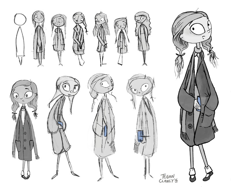 tegan clancy  here is some of the development sketches i produced in nate wragg s cgma character design for production