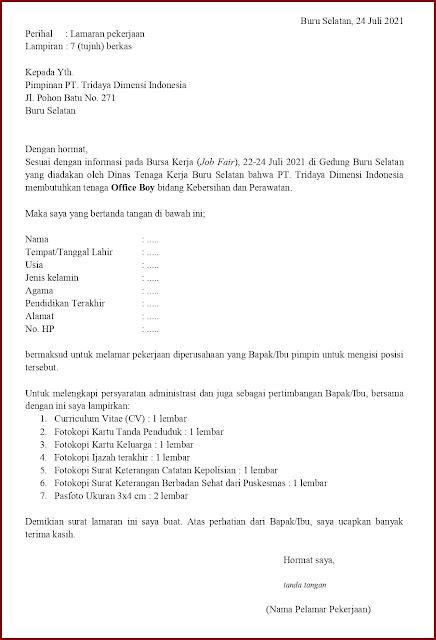 Contoh Application Letter Untuk Office Boy (Fresh Graduate) Berdasarkan Informasi Dari Job Fair