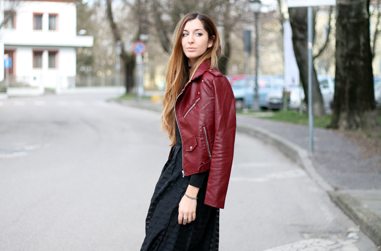 red biker jacket look inspiration