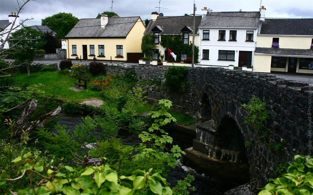 Oughterard, bridge, green trees, houses