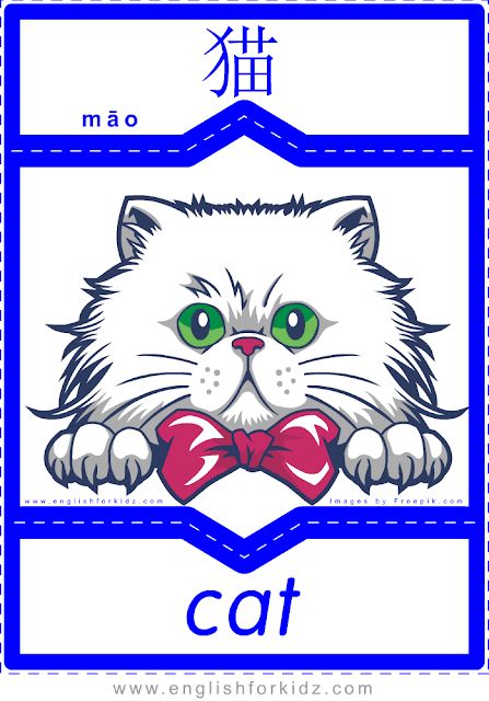 Cat - printable English-Chinese flashcards - pets