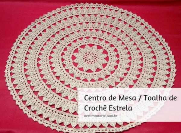 Decoração de Natal: Centro de Mesa de Crochê Dourado Anne Brilho