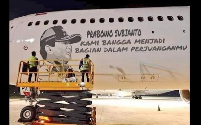 Supporters Put Prabowo Image on a Garuda Airplane