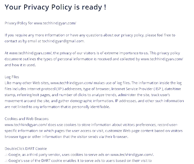 How To Make Privacy Policy Page For Blog