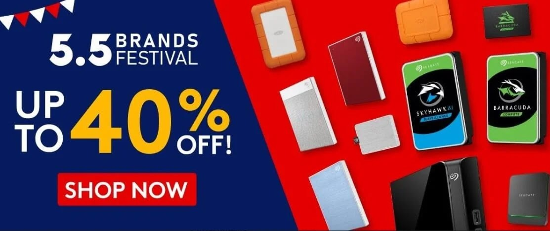 Up to 40% Off on Seagate Products at Shopee 5.5 Brands Festival Sale!