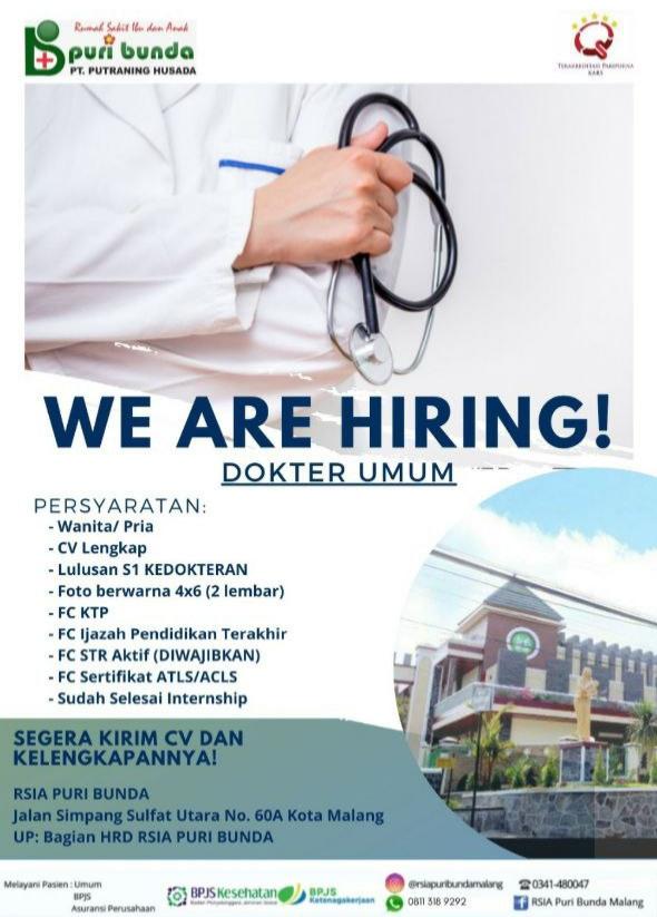 Loker Dokter RSIA Puri Bunda Kota Malang, Jawa Timur