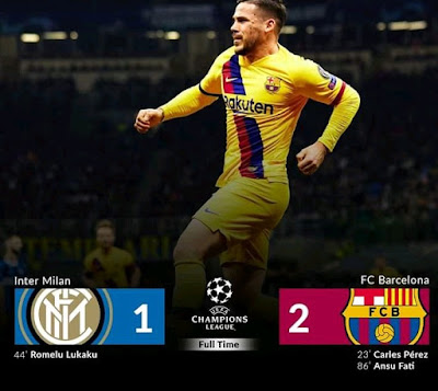 Inter Milan watch their hopes of remaining in the Uefa Champions League washed away after a Messi less Barca team ran away with a 1-2 win with goals from youngsters Perez and Fati with Lukaku scoring the only goal for the home team.