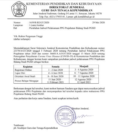 Perubahan Jadwal Pelaksanaan PPG Prajabatan Bidang Studi PGSD