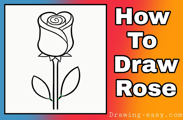How To Draw A Rose Flower Step By Step For Kids Beginners Drawing Easy Learn To Draw With Easy Step By Step Tutorials