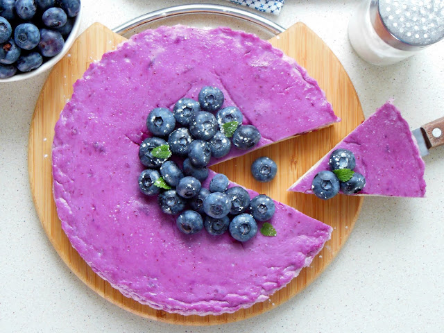 Cottage cheese casserole with blueberries