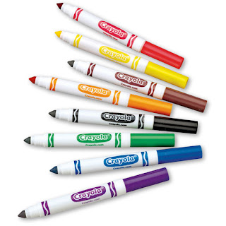 This is a photograph of different colored markers.