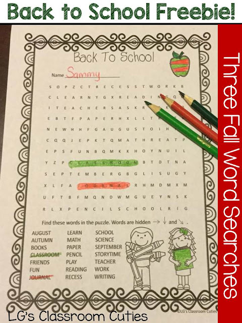 Fern Smith's Classroom Ideas Freebie Friday ~ LG's Classroom Cuties Back to School Fall Themed Word Searches at TeacherspayTeachers, TPT.