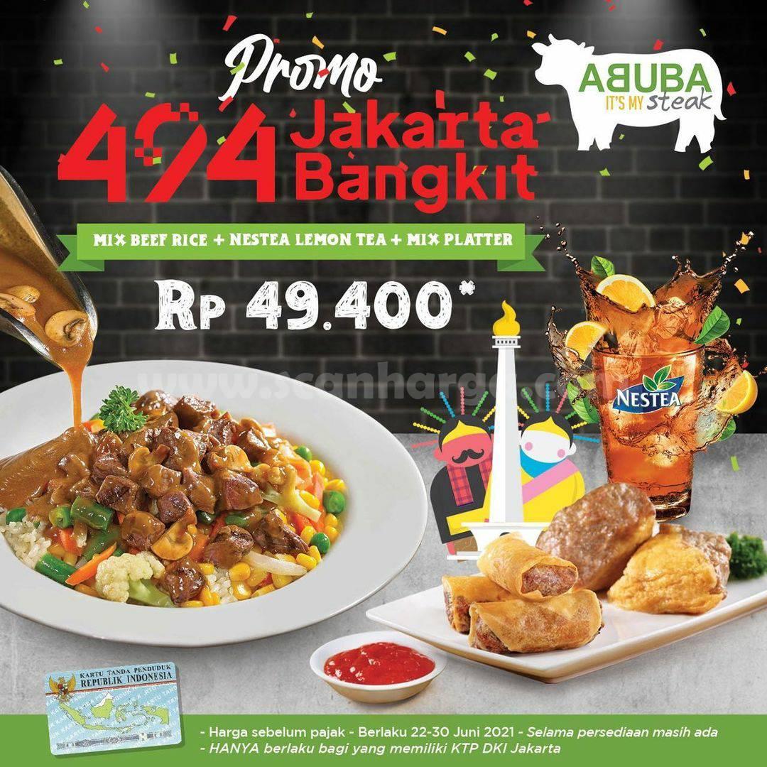ABUBA Steak Promo HUT JAKARTA - Mix Platter + Mix Beef Rice & Nestea Lemon Tea hanya 49K
