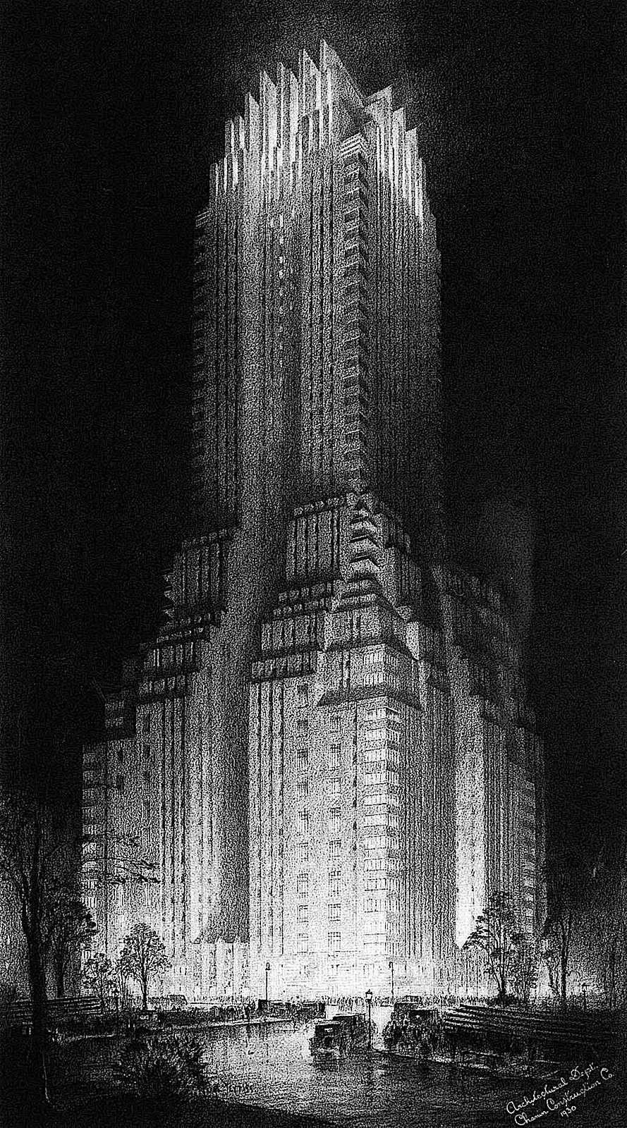 a Hugh Ferriss architectural concept skyscraper at night