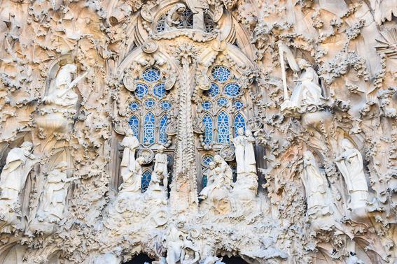 Portal central de la Sagrada familia. Barcelona. Gaudi en España