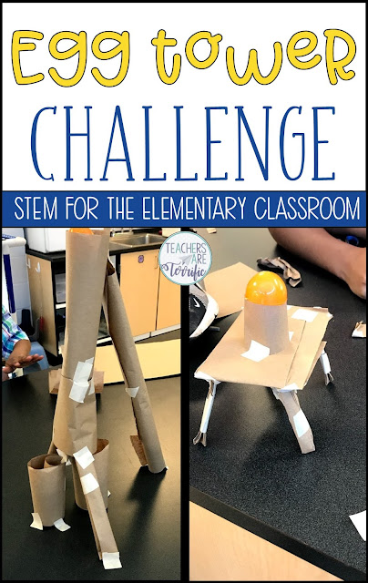 It's another Egg Challenge! This is a variation of an egg drop event – just don't let that tower fall with the egg on top! We have discovered that adding something as simple as an egg to a challenge makes for an exciting event (or egg-citing!) #teachersareterrific #elementary #STEM