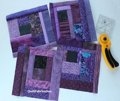 purple scrap quilt blocks
