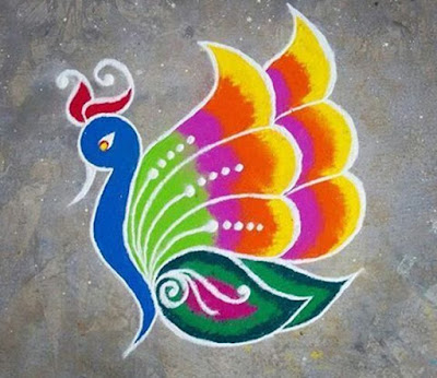 Happy New Year Rangoli Designs of Peacock