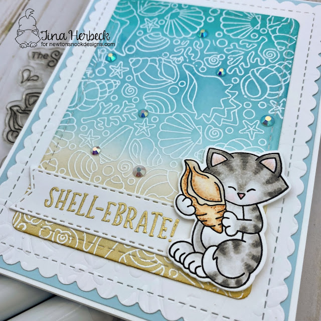 Shell-ebrate Summer Card by Tina Herbeck | Newton's Seashell Stamp Set, Seashell Roundabout Stamp Set, Frames & Flags Die Set and Banner Trio Die Set by Newton's Nook Designs #newtonsnook #handmade