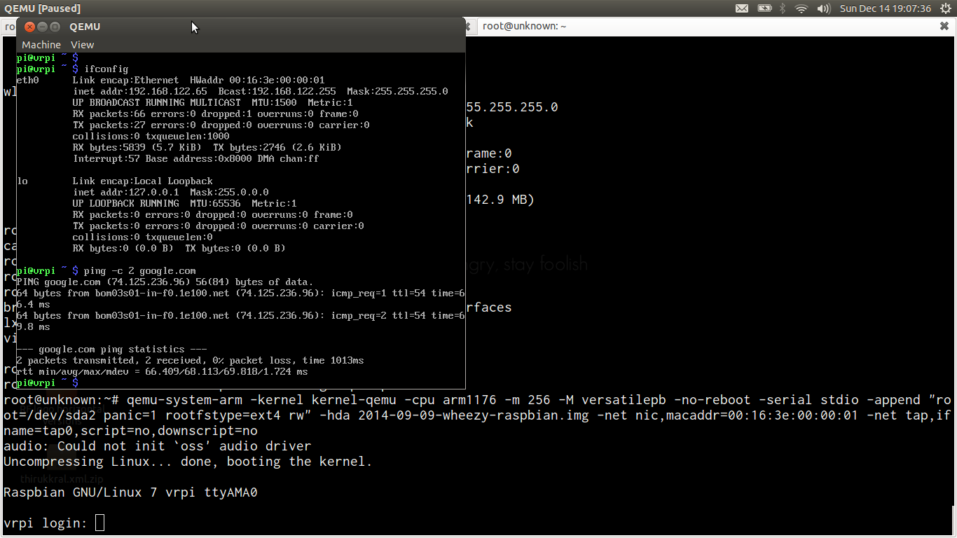 Just Try This: Share internet with Virtual RaspberryPI using QEMU