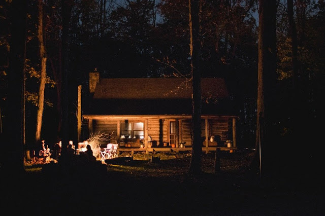 Michigan Cabin at Night by the Fire