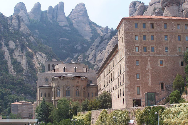 A photo of the basilica and monastery at Montserrat.