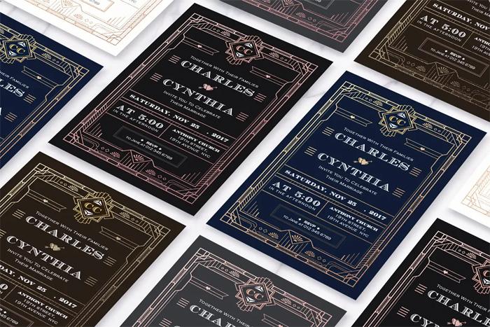 Art Deco Ticket Wedding Invitation Ai and Psd Bundle  5