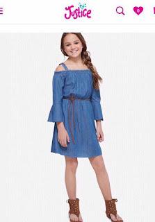 Đầm denim bé gái size lớn hiệu Justice, vietnam xuất dư, cho bé 35kg đến 60kg.