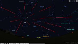 Radiant Perseidów i możliwe ich tory przy skierowaniu obserwatora ku północno-wschodniej i wschodniej stronie nieba (12.08.2019, godz. 23:00 CEST).
