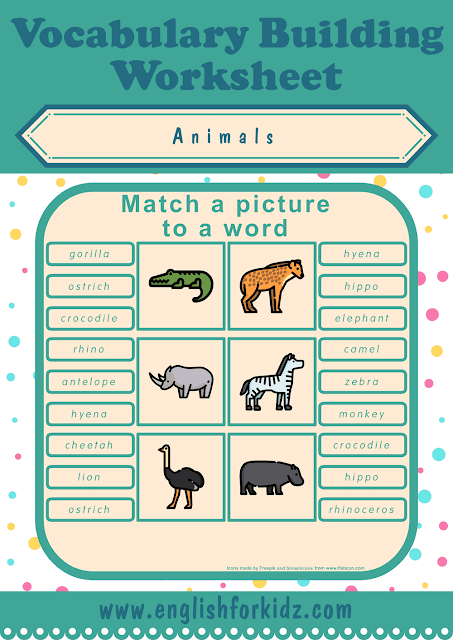 African animals worksheet - picture to word matching - free ESL printables