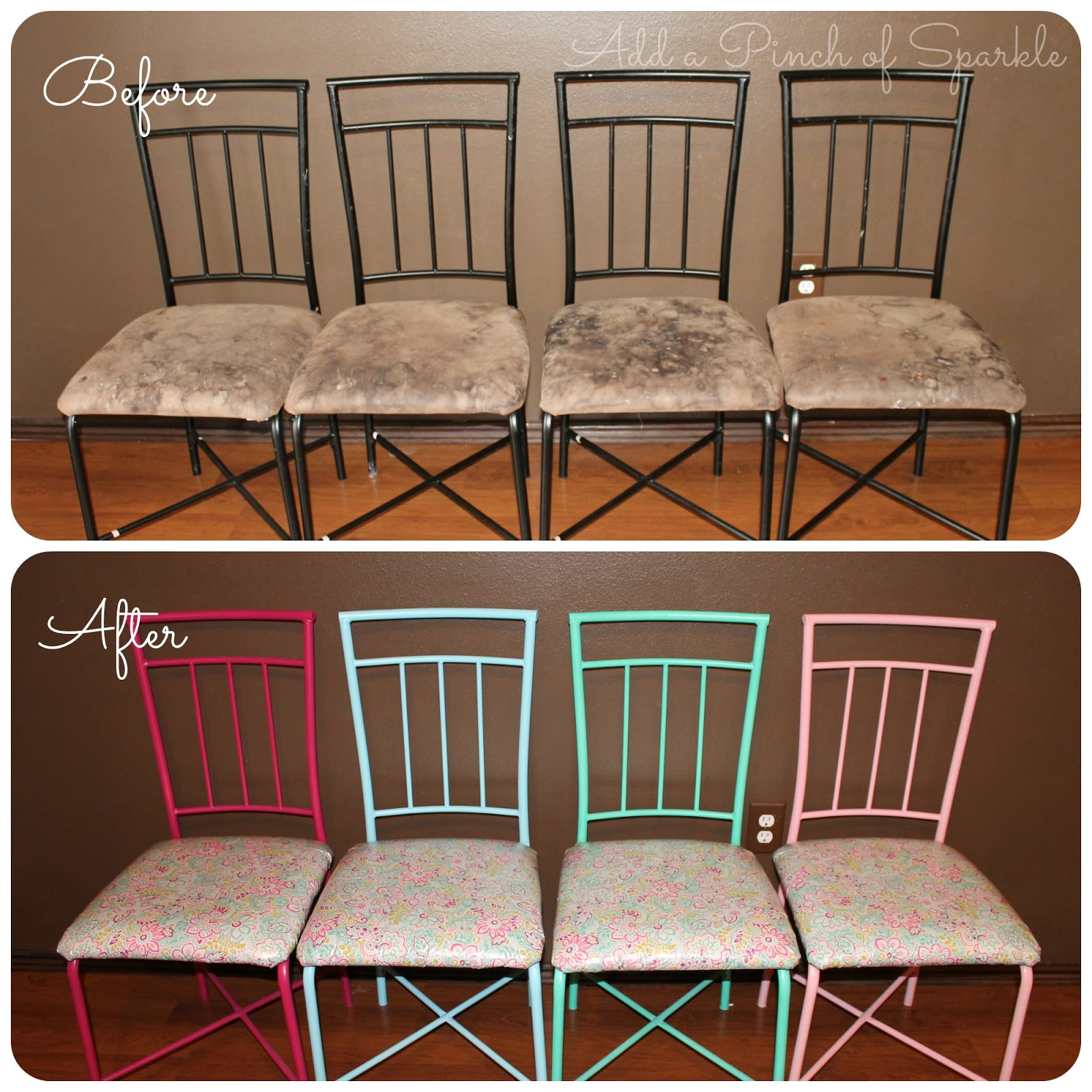 Astonishing Add A Pinch Of Sparkle Diy Kid Friendly Kitchen Chair Makeover Ibusinesslaw Wood Chair Design Ideas Ibusinesslaworg