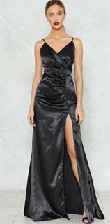 vestido satinado largo con abertura lateral hasta el muslo para nochevieja 2018